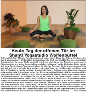 Zeitungsartikel Shanti Yogastudio